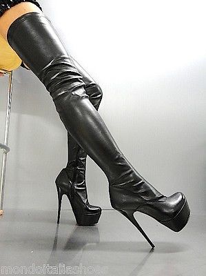 MADE IN ITALY KNEE HIGH HEELS STIEFEL BOOTS STIVALI STUDS SHOES WHITE WEIB 44