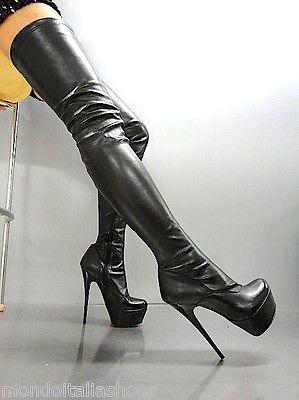 121169ca206 Mori platform overknee heels italy boots boots stretch leather black ...