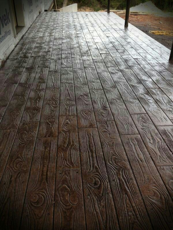 Wood Stamped Concrete Porch Stained Patios Edging