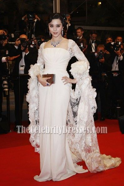 63fb68e31b3 Celebrity Dresses Fan Bingbing White Prom Dress Cannes Film Festival 2011