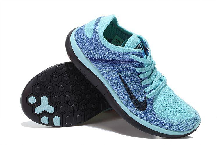 b4a13e9885afc Womens Nike Free 4.0 Flyknit Ice Blue Black Shoes