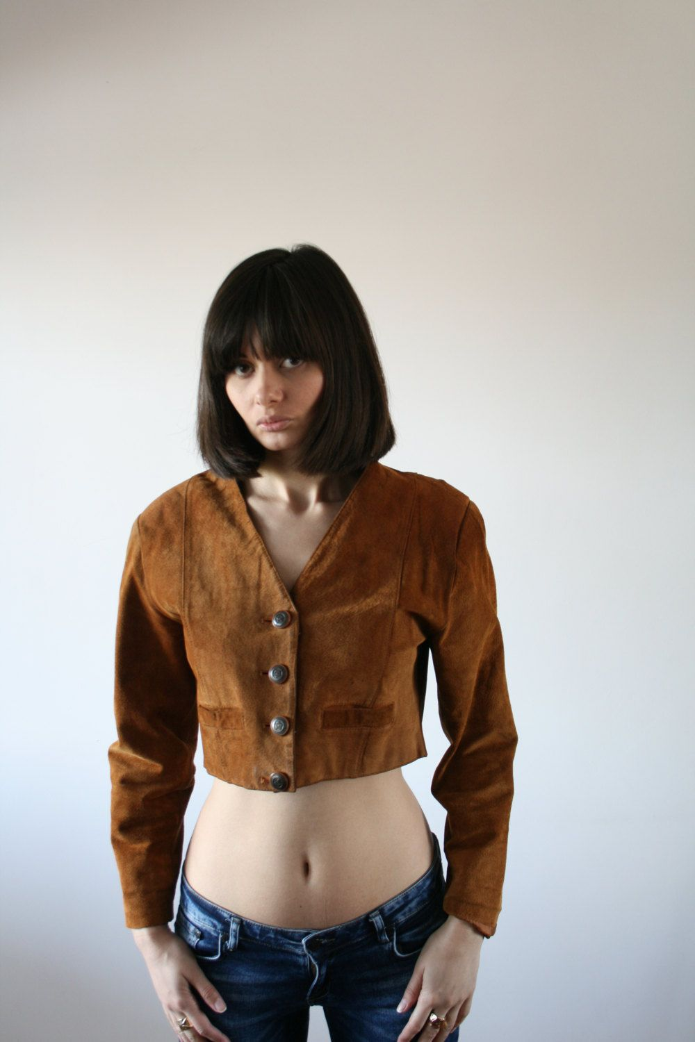 Vintage brown genuine suede jacket Cropped leather jacket Bomber ...