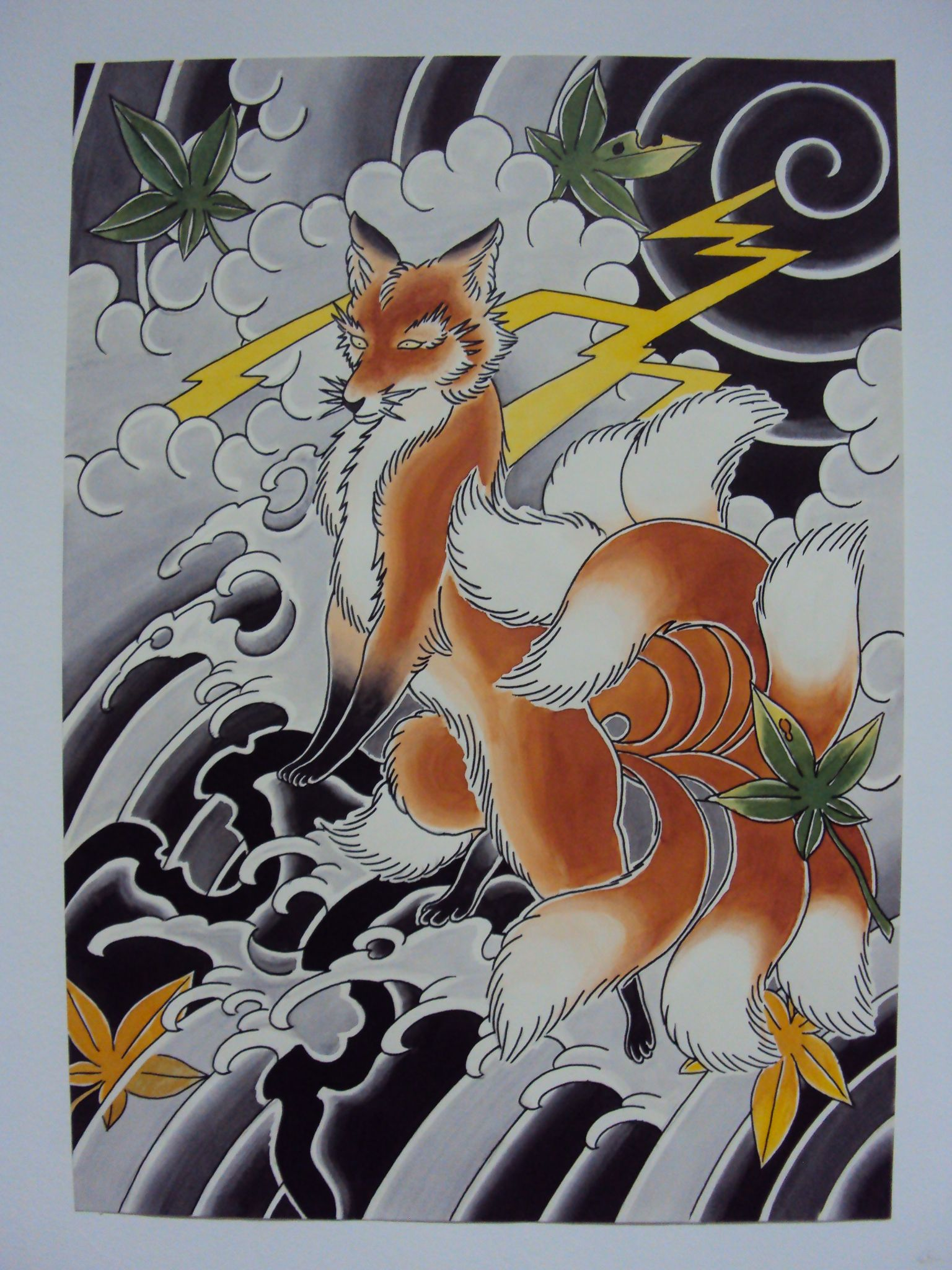 Nine Tailed Fox Arte Da Tatuagem Japonesa Tatuagem Relampago Japan Tattoo