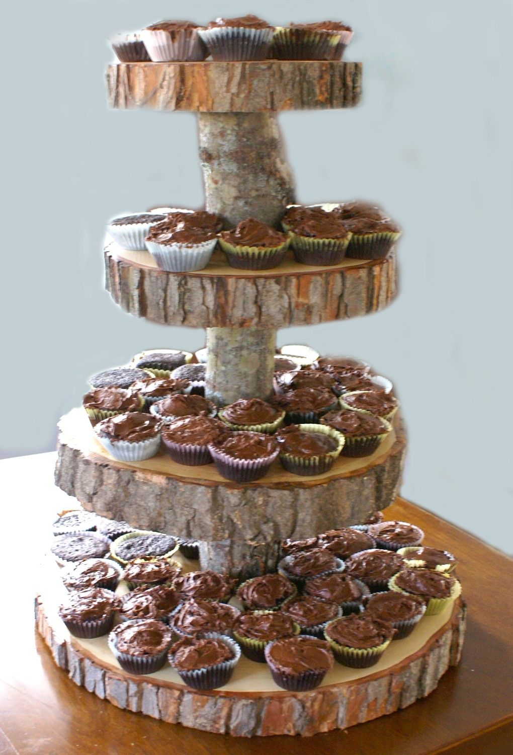 4 Tier Tree Slice Large Cupcake Stand reserved for Carrie