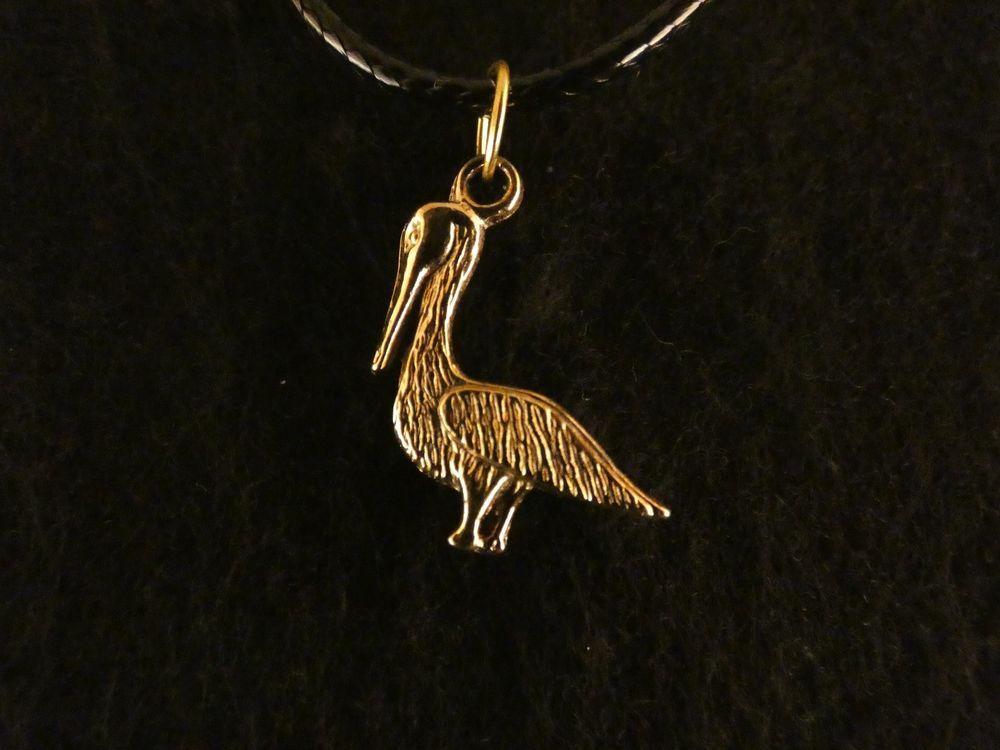 Anhänger mit Kette 24 Karat Vergoldet Kranich Vogel Wasser Sumpf Tier