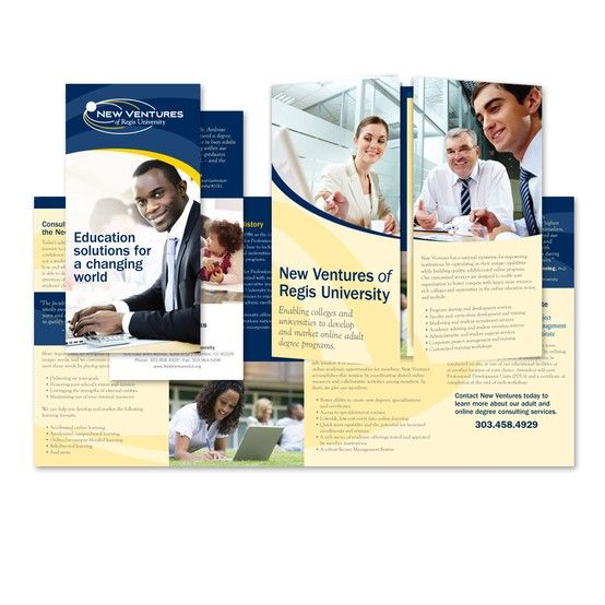 Brochure design for New Ventures of Regis University UCIMEXICO - university brochure template