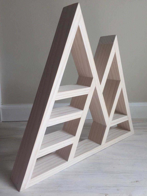 Sacred geometry triangke shelf for crystal display whitewashed pine