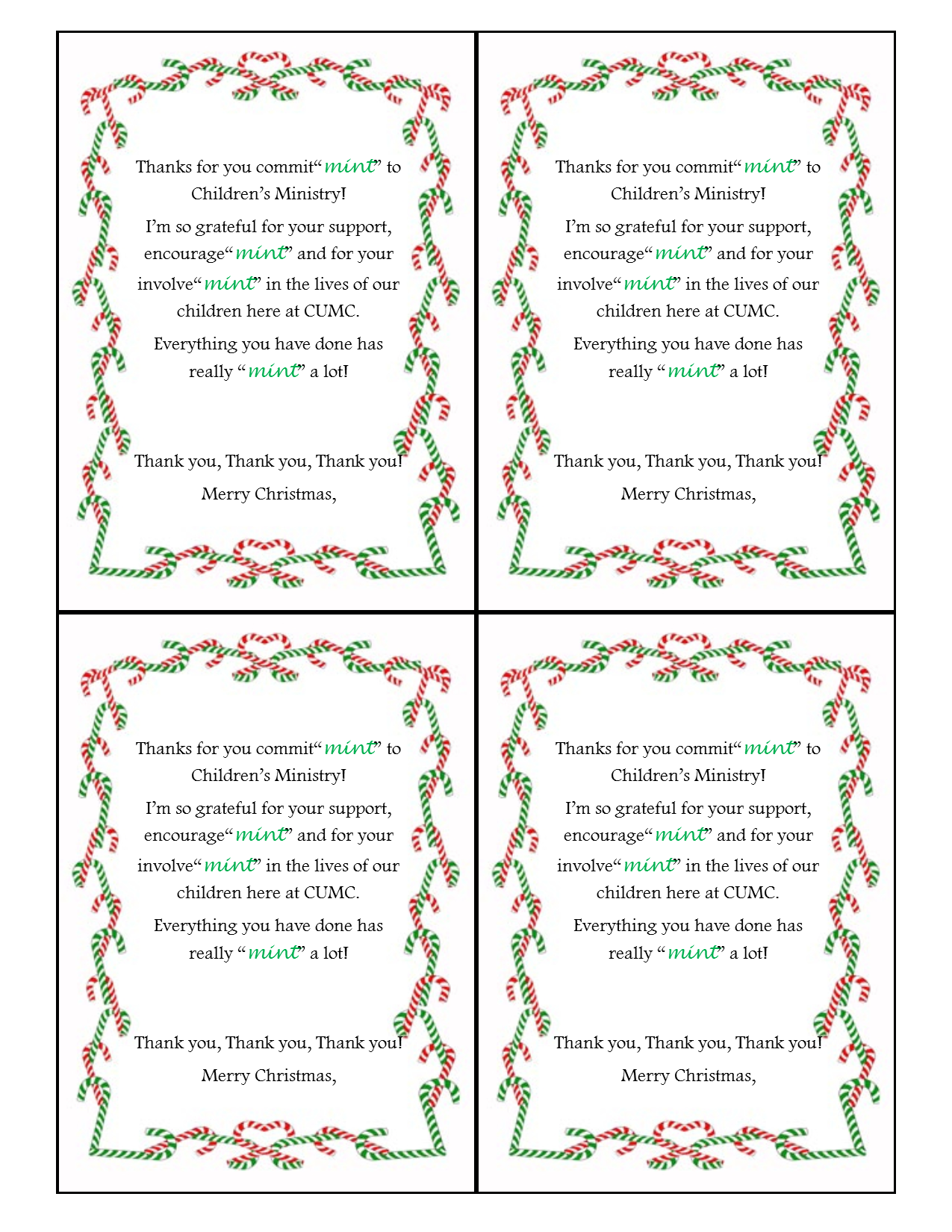 It's just an image of Ambitious Thank You for Your Commit Mint Free Printable