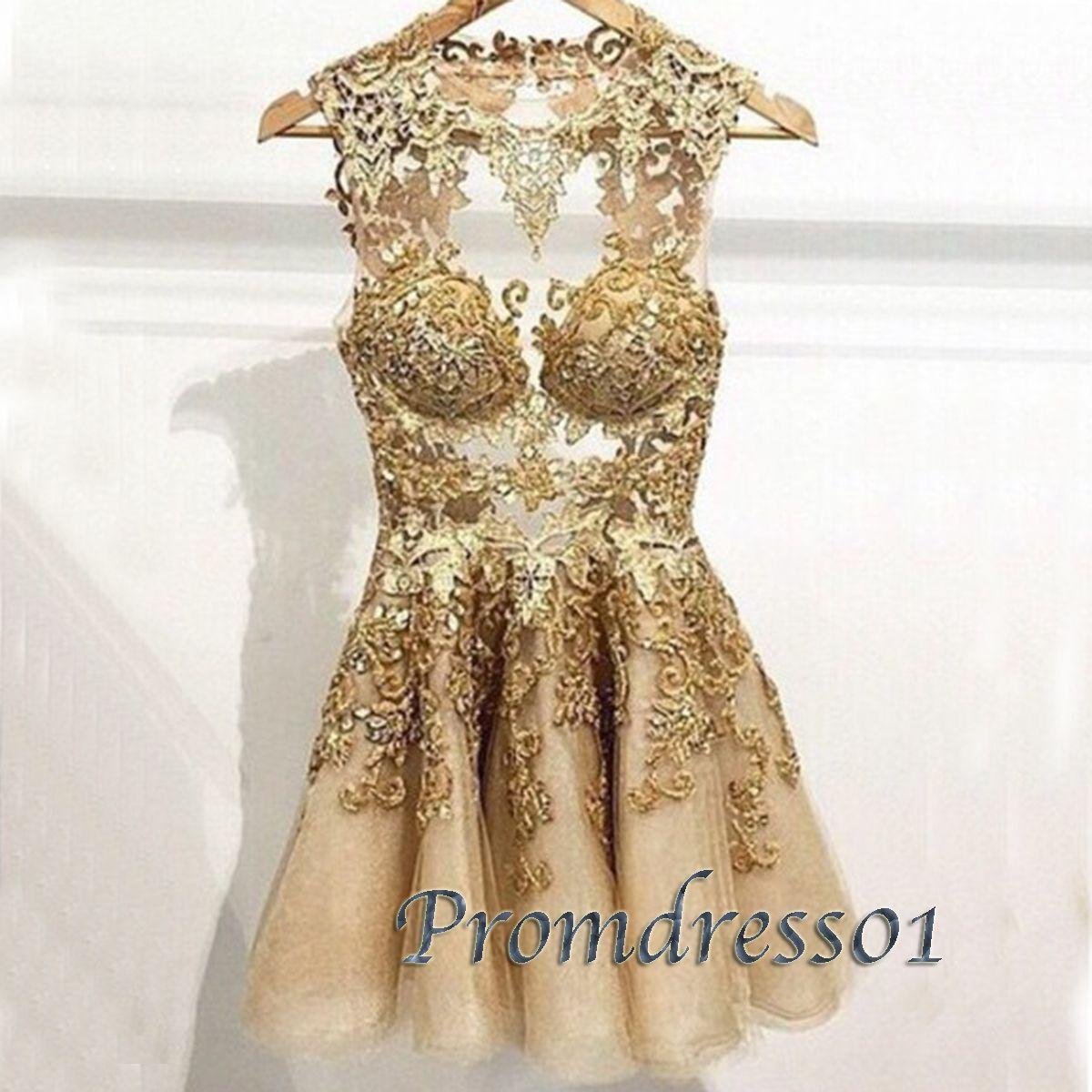 Noble golden lace short vintage senior prom dress ball gown cute
