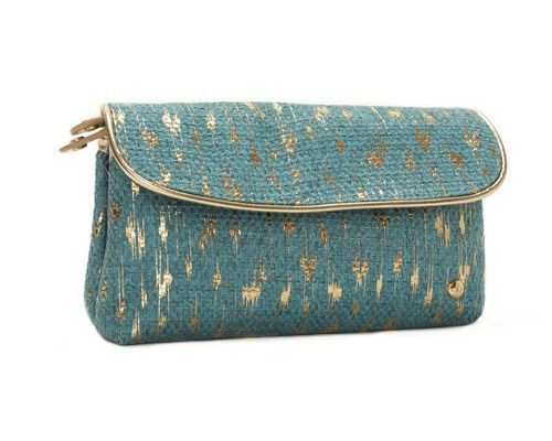 turquoise & gold folding clutch