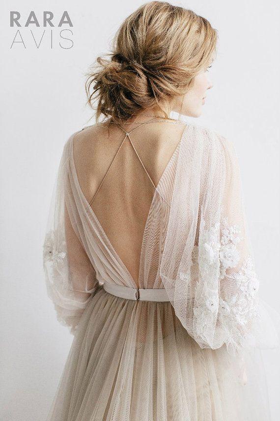 Boho Brautkleid KRISTINE / / Boho Brautkleid, Open Back Wedding Dress, Low Back Brautkleid, rückenfreie Brautkleid, Spitzenkleid