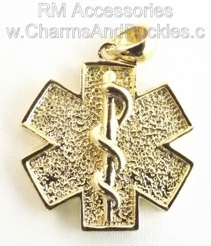 Star of life rod of asclepius medical charm pendant medical star life rod asclepius medical charm pendant gold plated layered aloadofball Image collections