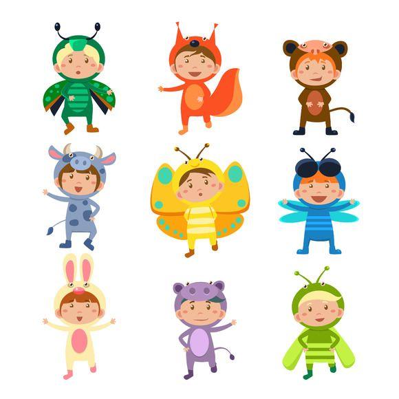 Kids In Animal Costumes Animal Illustration Children Illustration Animal Costumes