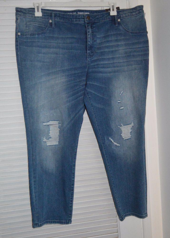 e7fbc32a9443f NEW AVA   VIV Denim Blue Jeans SKINNY Power Stretch Womens Plus 26W  DISTRESSED