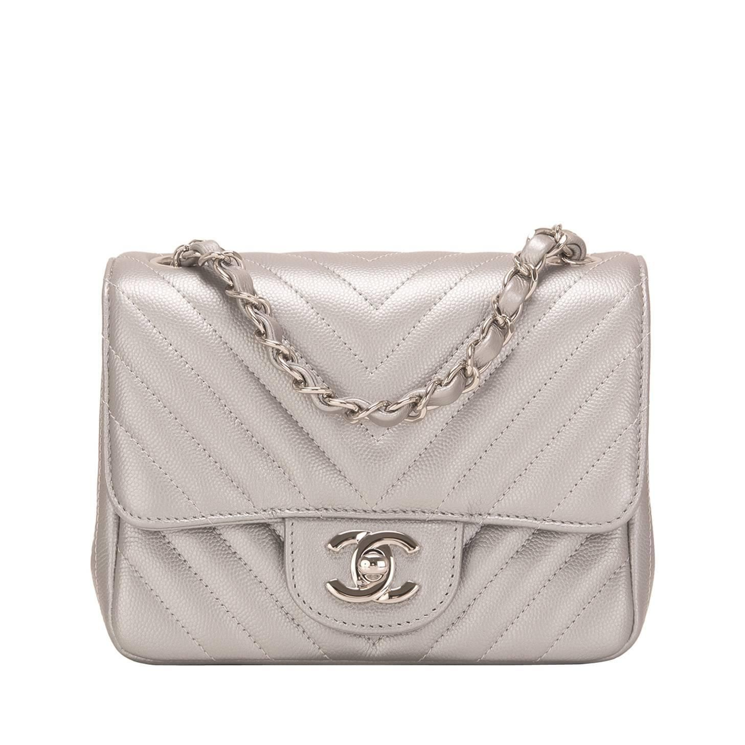 147a66f27289 Chanel Silver Chevron Quilted Caviar Square Mini Flap Bag in 2019 ...