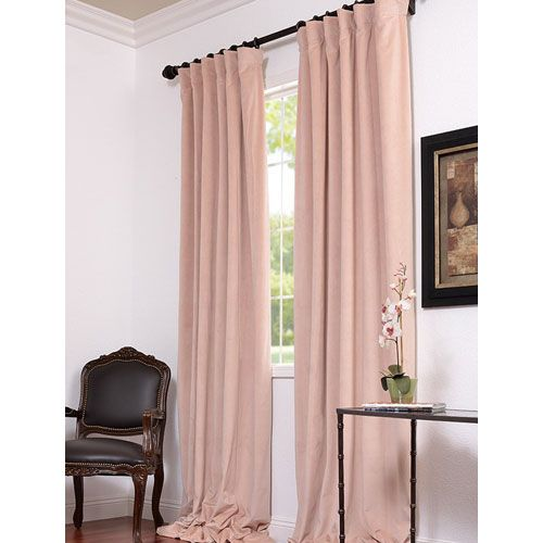 Petal Blackout Velvet Pole Pocket Single Panel Curtain 50