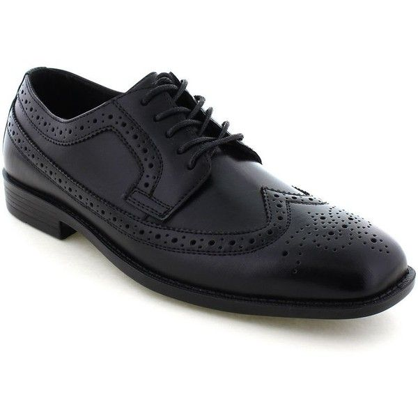 Deer Stags Cade Men's Wingtip Dress Oxfords ($55) ❤ liked on Polyvore featuring men's fashion, men's shoes, black, mens wing tip shoes, mens leather shoes, mens leopard print shoes, mens oxford wingtip shoes and mens black oxford shoes