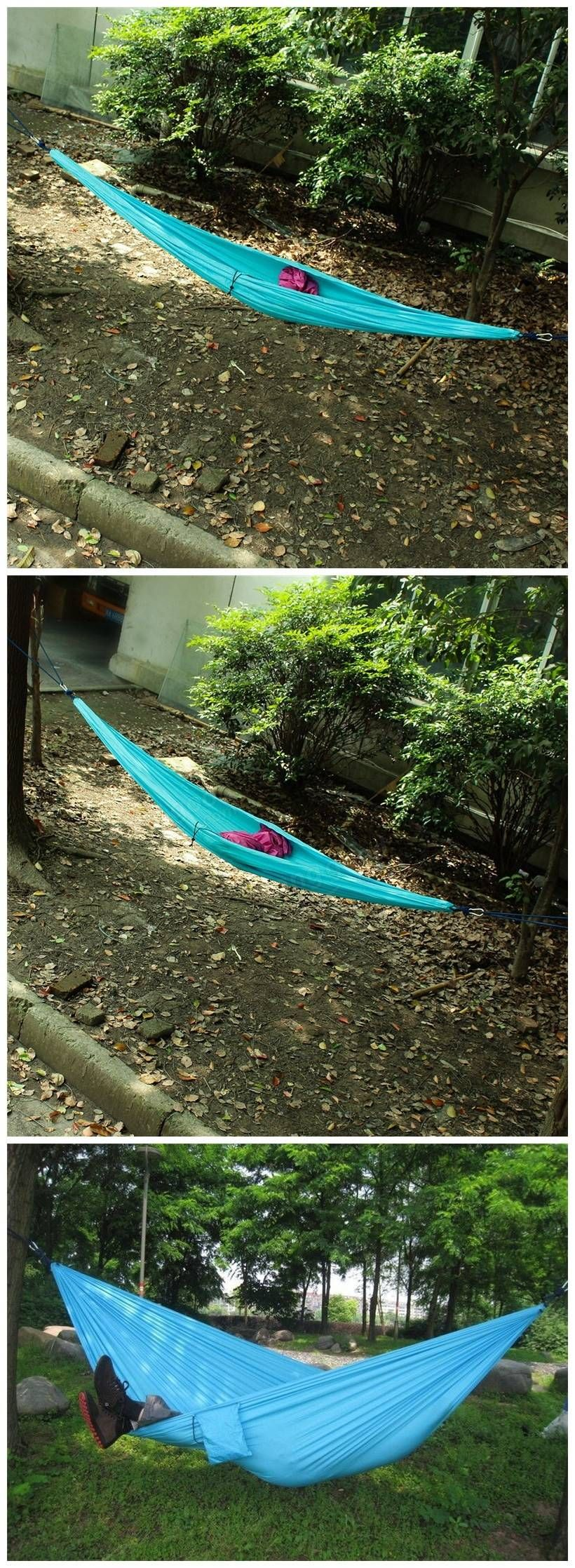 Outdoor Double Person Hammock Swing Bed Portable Parachute Travel Camping 260CM X 140CM Sale - Banggood.com