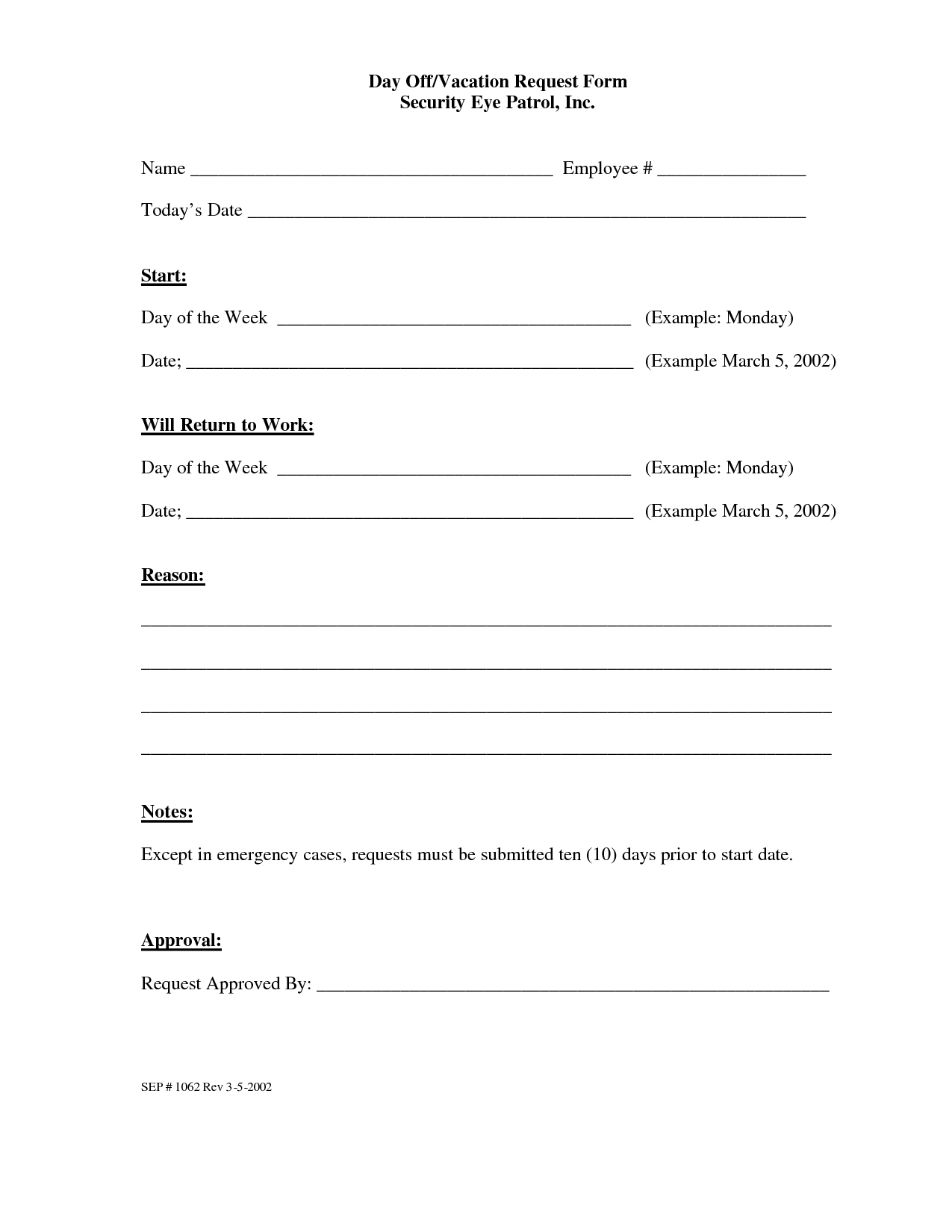 Day Off Request Form – Request off Form