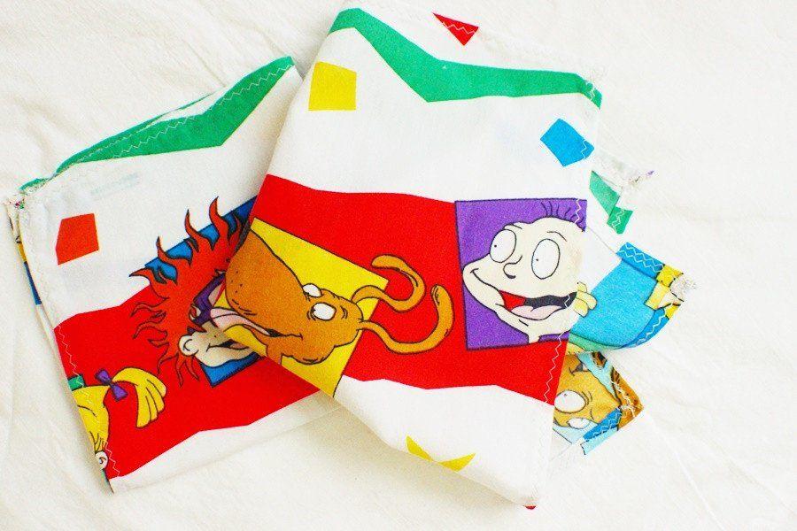 Nickelodeon's Rugrats Vintage Fabric Hand Sewn Handkerchief, Pocket Square