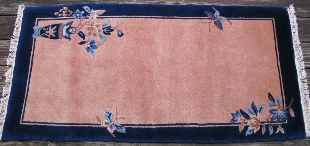Traditional Chinese Rug Hand Knotted Wool Peach Blue 1980 S 28x56in Chinese Rug Rugs Traditional Chinese