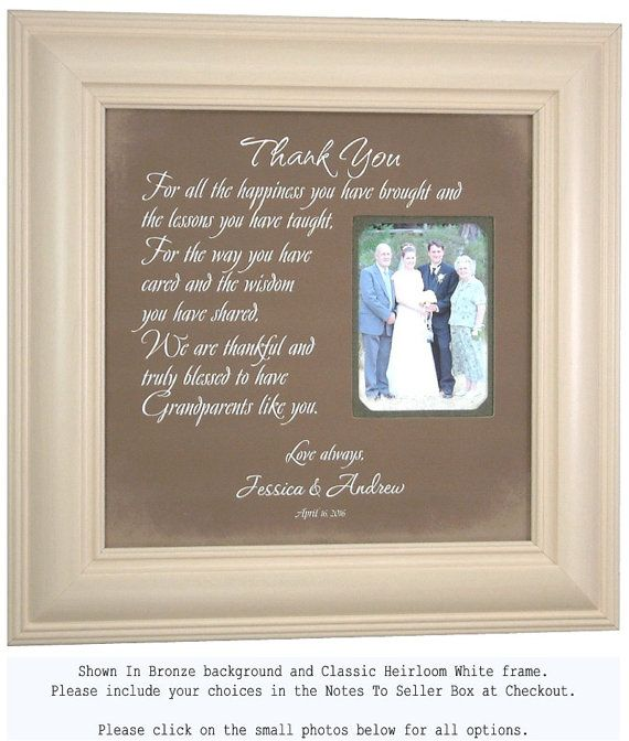 Thanks For The Wedding Gift: Grandmother Gift, Personalized Wedding Grandparents Gift