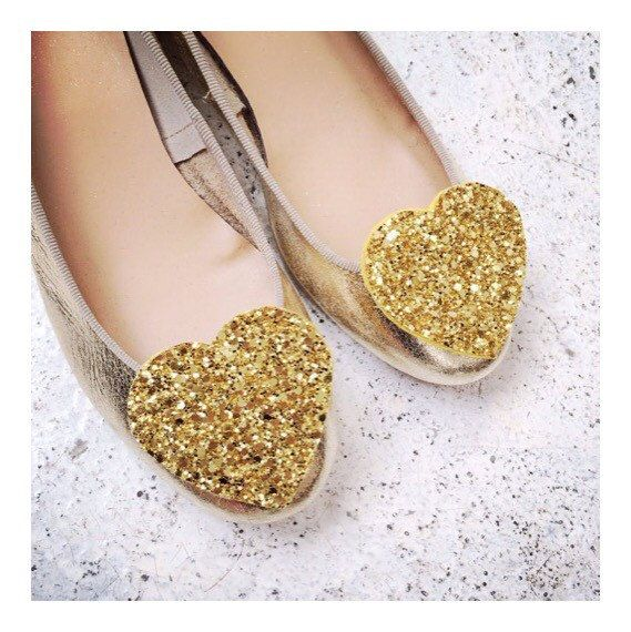 Gold Glitter Heart Shoe Clips Big Bridal Shoeclips By PollyMcGeary
