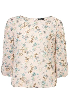 Rose Print Bow Sleeve Blouse