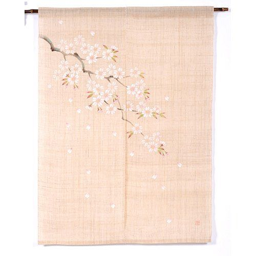 Branched Cherry Blossom Pattern Hand-Drawn Noren Curtain 120
