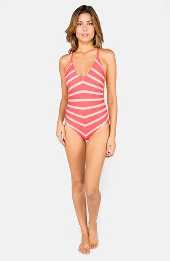 Dkny Empire Stripes V Neck Maillot One Piece Swimwear Intimates Apparel