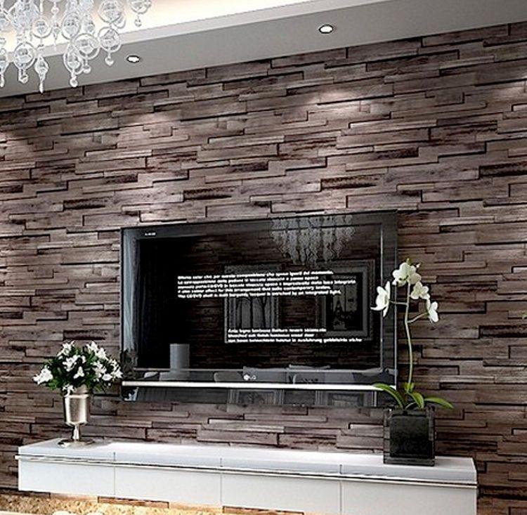 Modern rustic wood blocks brick wall effect vinyl wallpaper roll brown 10m