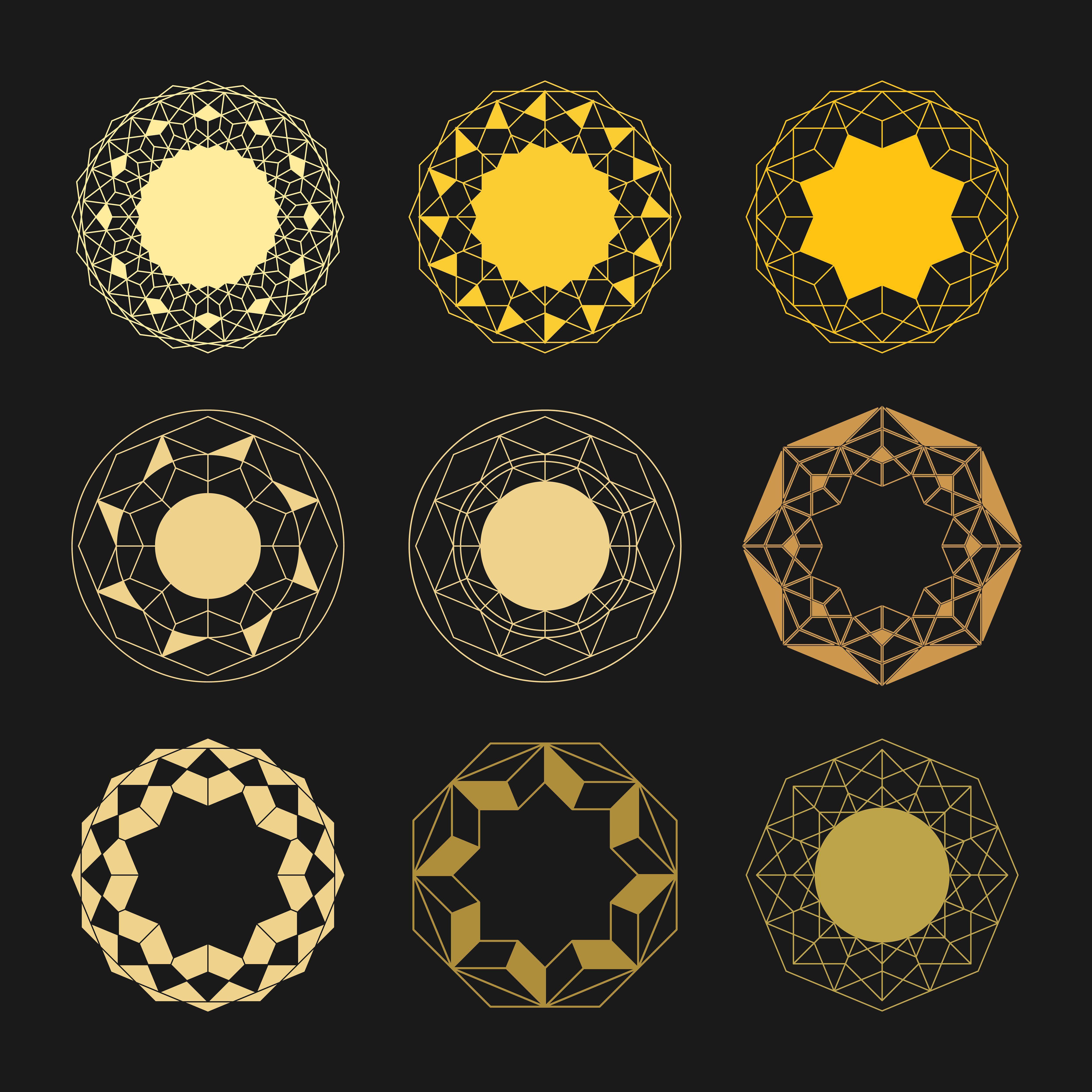 63 Mandala Circle Shapes Pack Motifs Icons Oriental
