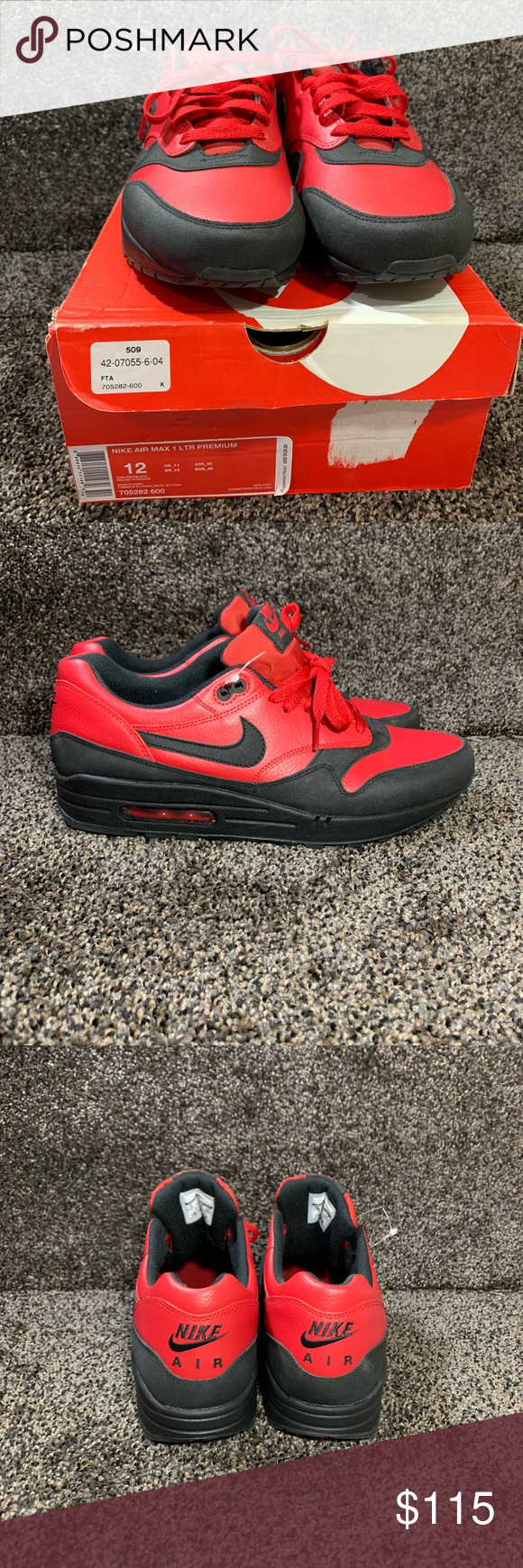 buy popular 5fdea f8b9f Red Black · Gym · Size 12 · Athletic Shoes · Nike Shoes · NIKE AIR MAX 1  LTR PREMIUM SIZE 12 The Air Max 1 gets the advantage of