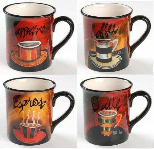 Cafe De Paris Mugs 16 oz Set/4 Assorted by Jennifer Garant & Certified International Dinnerware