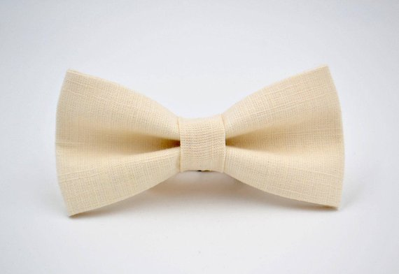 31bb820433a9a Bowtie in Ivory Linen, Mens Off-White Bow Tie, Cream Bow Tie in 2019 ...