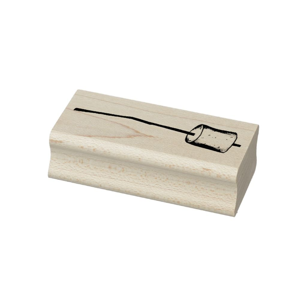 Campfire Smores Roasted Marshmallow on Stick Camp Rubber Stamp | Zazzle.com #smoressticks