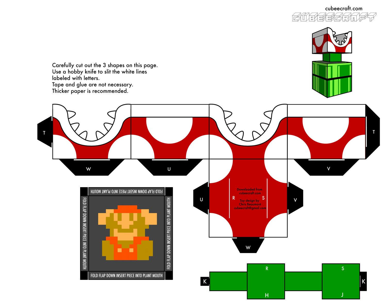 Papercraft Bowser Minecraft Mario