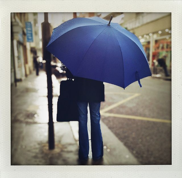26-04-12- Bleu by marisan67, via Flickr | #streetscene #people #umbrella #blue #grey #brown #iphoneography