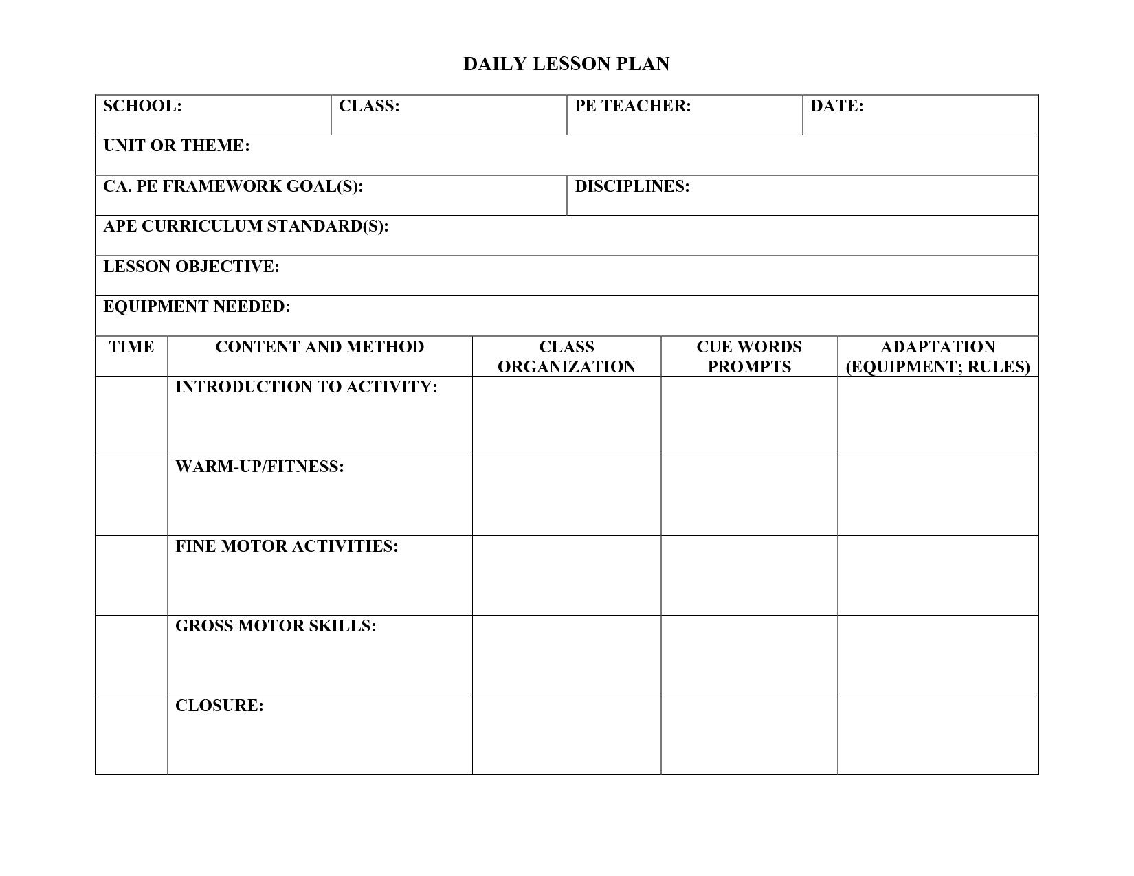 20 Physical Education Lesson Plan Template In 2020 Lesson Plan