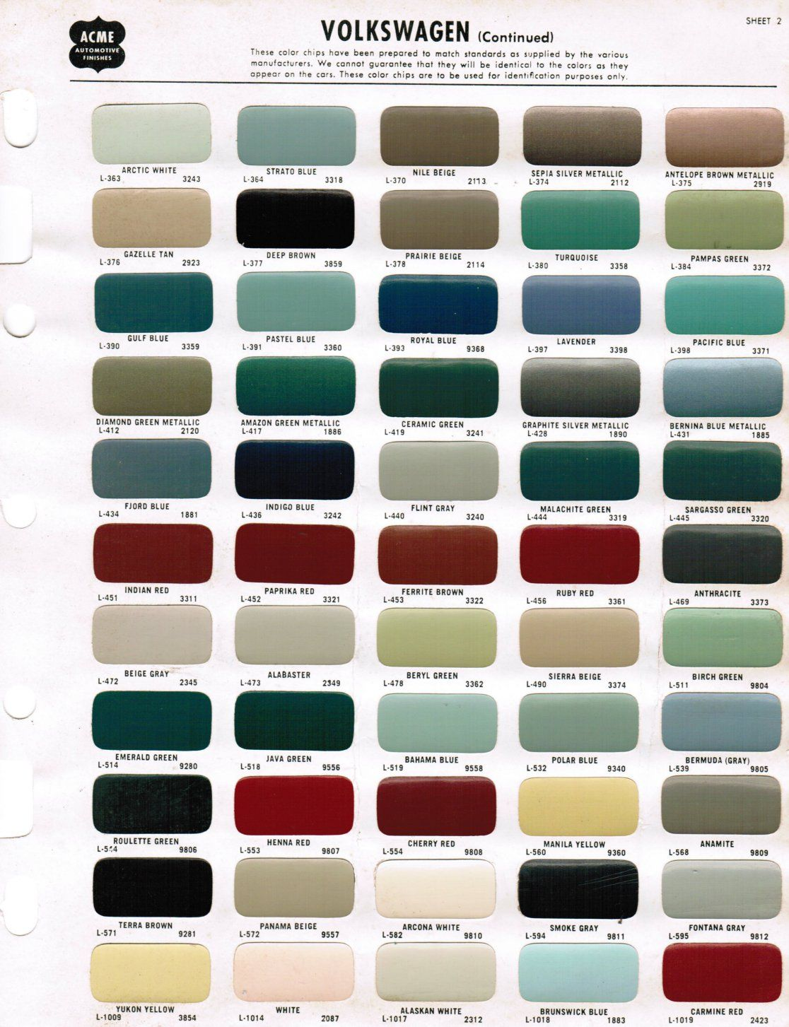 medium resolution of 1968 acme vw paint color chips