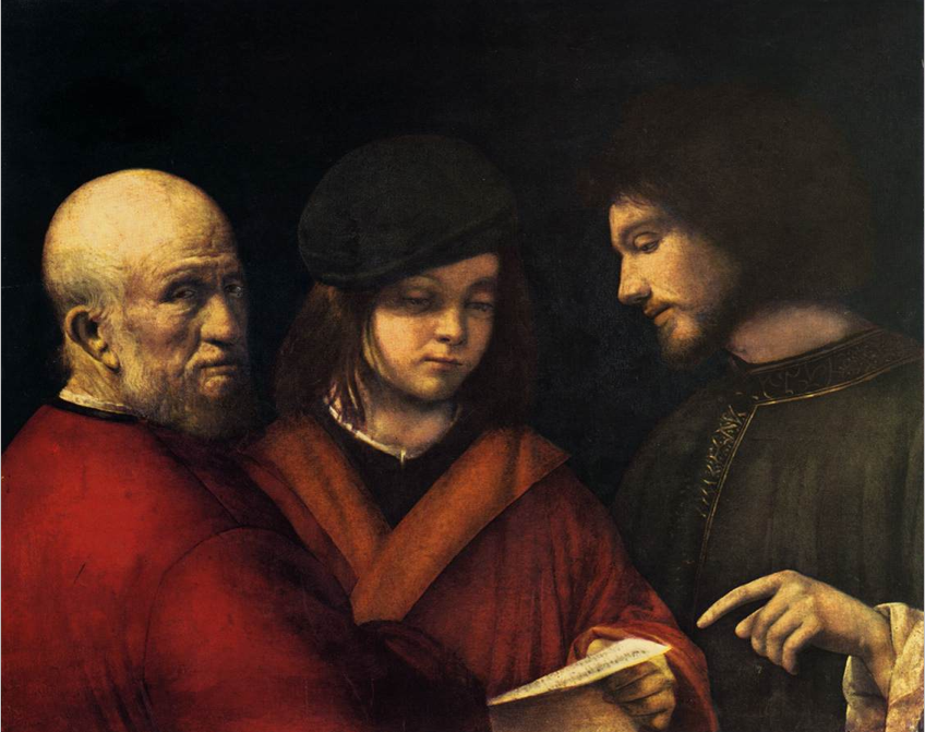 Giorgione, The Three Ages, 1500, oil on panel, 62 x 77 cm (Galleria Palatina, Palazzo Pitti, Florence)