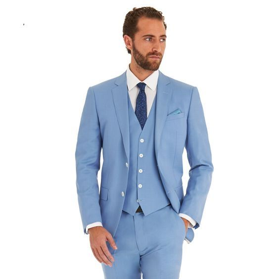 Latest Coat Pant Designs Light Blue Men Suit Slim Fit 3 Piece Casual ...