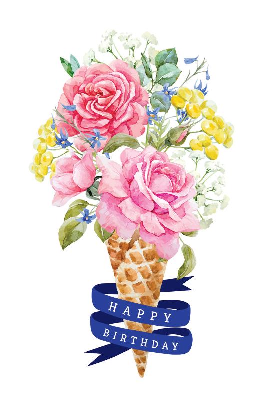 Flowered Ice Cream Birthday Card (free Unicorn