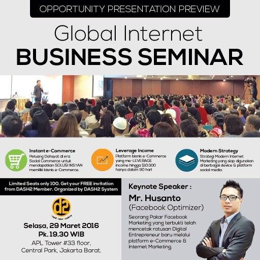 Global Internet Business Seminar DASH2 System 29 Maret 2016 Get - Seminar Flyer