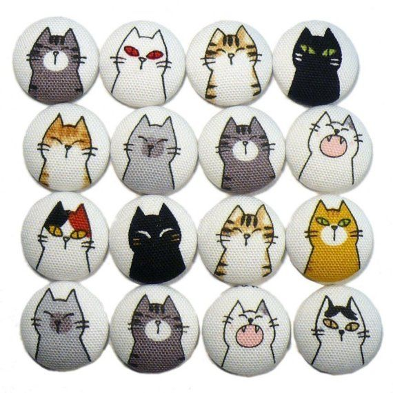Cat Chips  Set of FOUR Fabric Magnets by alliebeans on Etsy, $6.50
