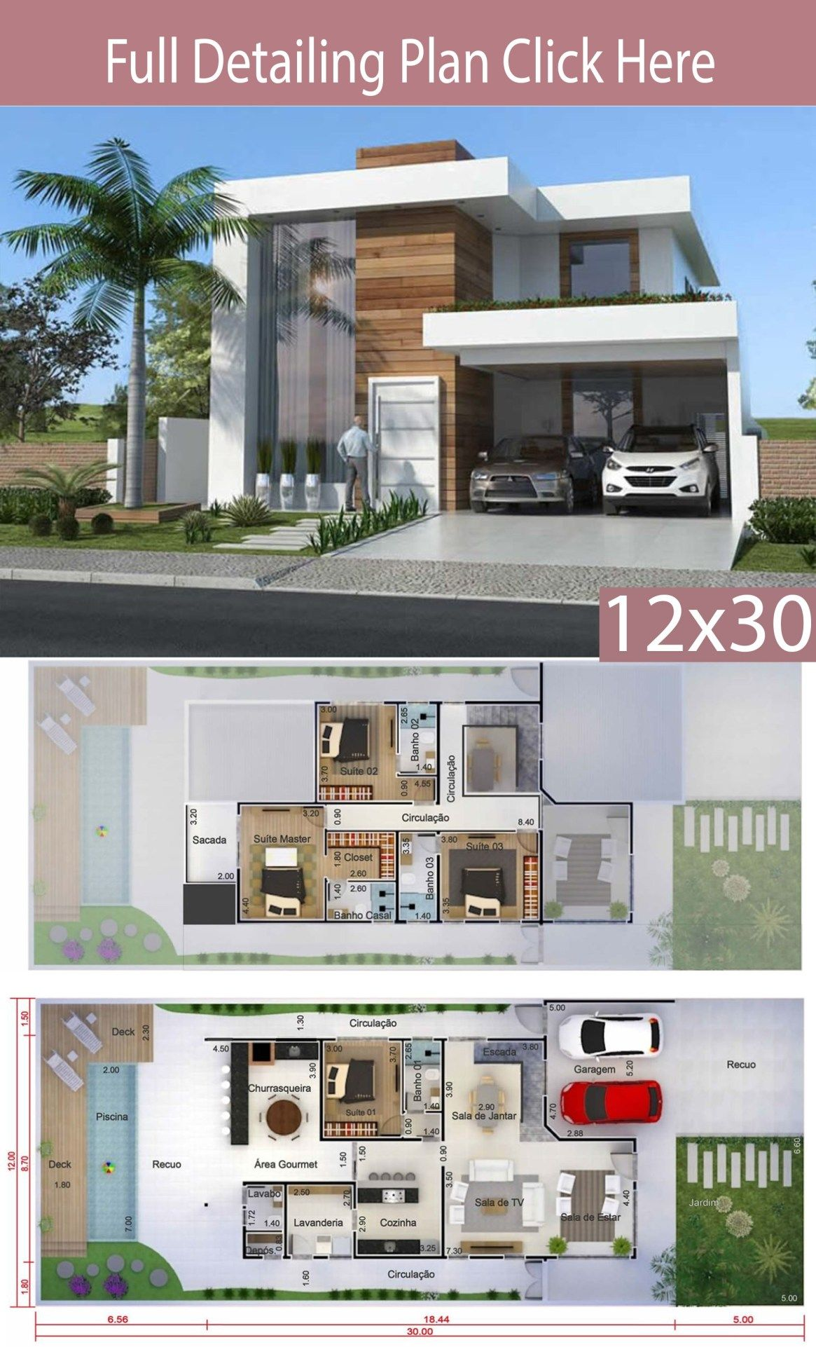 Home Design 12x30 Meters 4 Bedrooms Home Design With Plansearch Architectural House Plans Modern House Facades Modern House Floor Plans