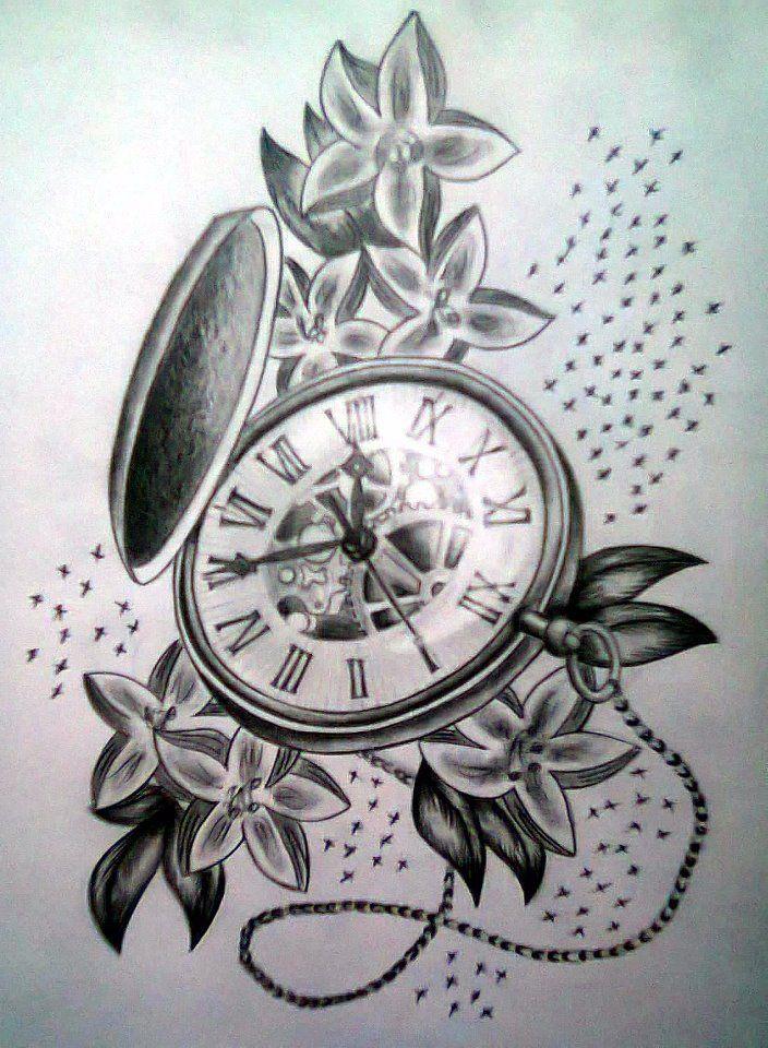 b948877872ef5 Black Ink Pocket Watch With Flowers Tattoo Design   tattoos   Pocket ...