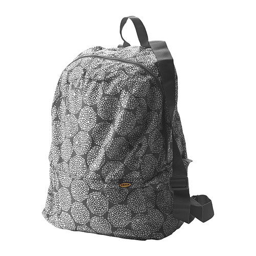 ikea knalla backpack gray white easy to keep on hand since it folds very small and fits. Black Bedroom Furniture Sets. Home Design Ideas