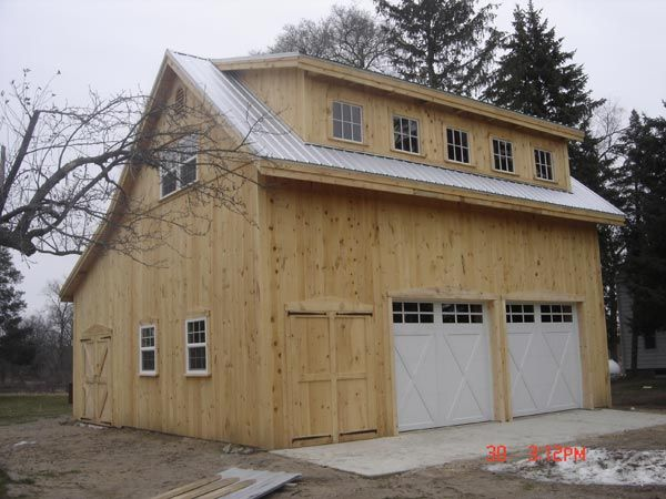 Saltbox garage with loft broken back salt box post beam for Garage with loft apartment kit