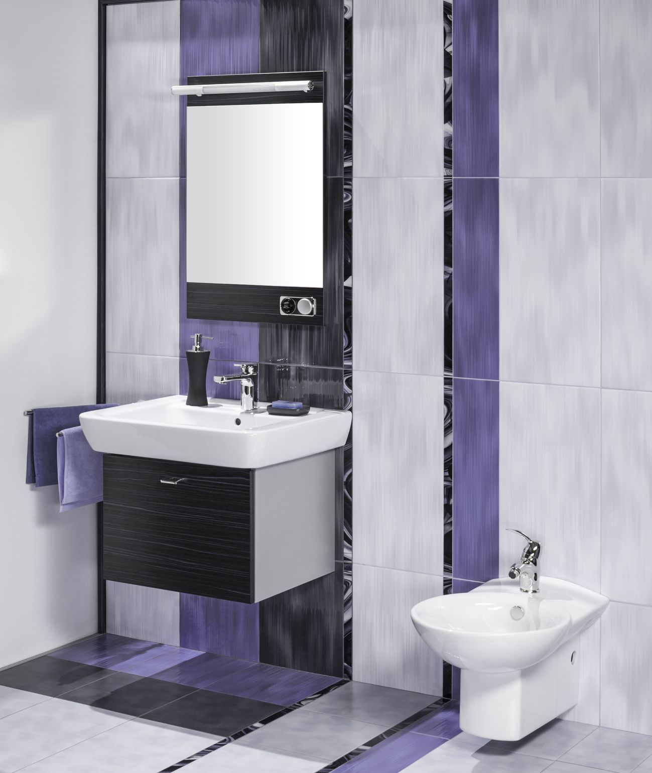 detail of an elegant bathroom interior with miror and sink with accessories